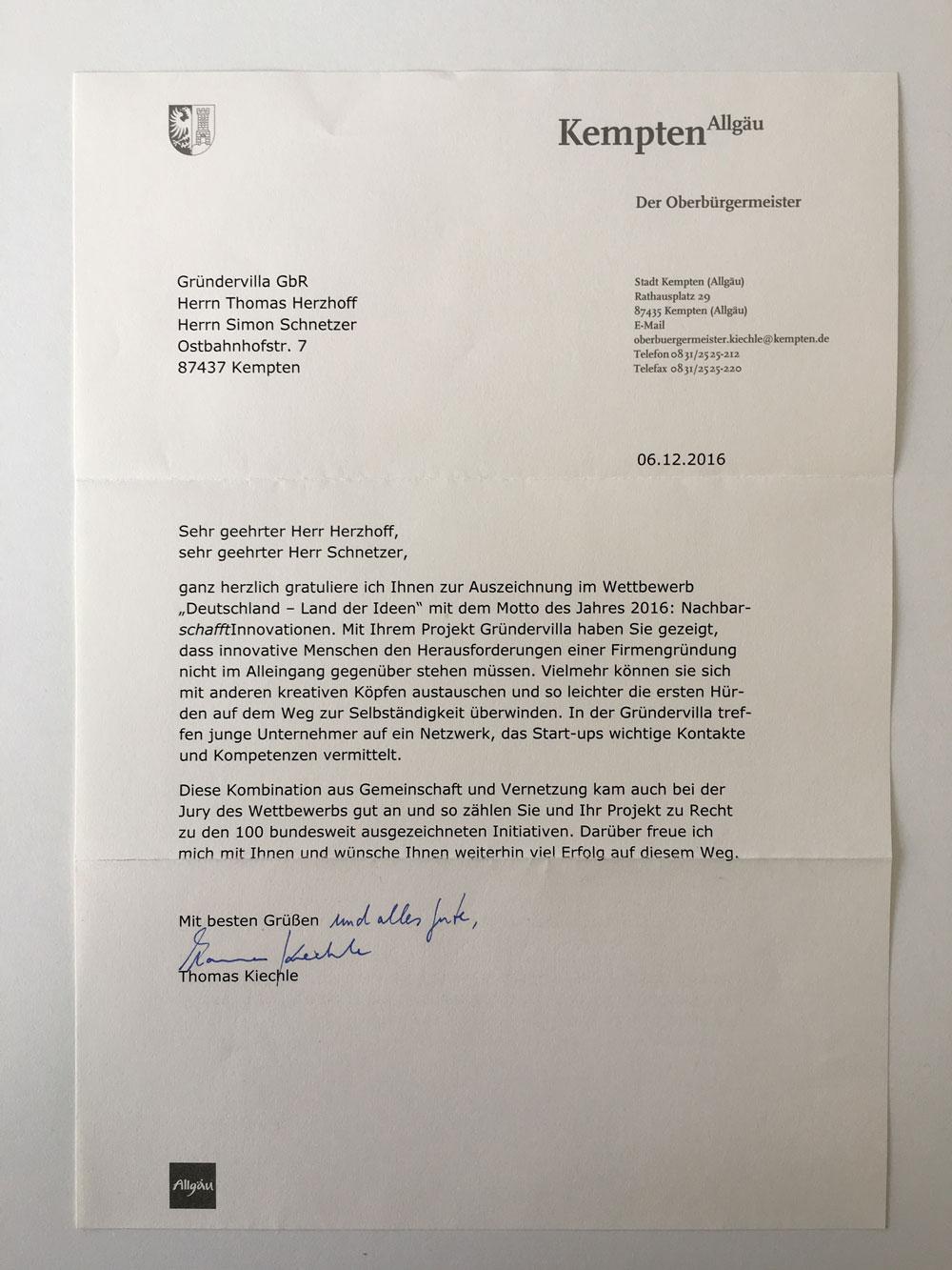 Kemptens OB Kiechle würdigt Gründervilla