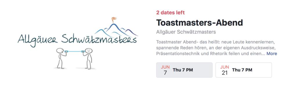 Allgäu Speakers - Termine im Juni